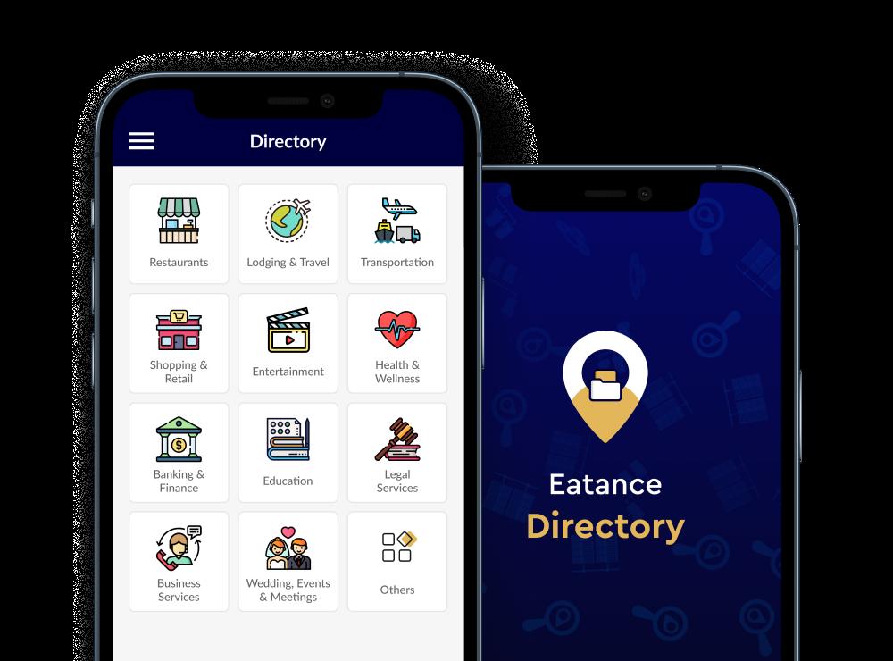 eatance directory app home screen